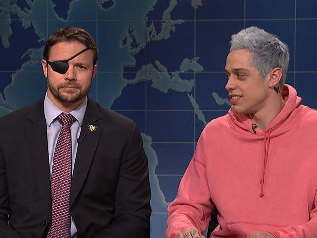 """Ex-Navy SEAL Lt. Com. Dan Crenshaw and comedian Pete Davidson on SNL's """"Weekend Update"""""""