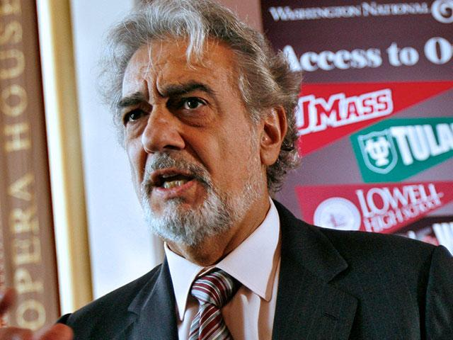 In this May 23, 2007, photo, Placido Domingo, speaks during a news conference in Washington about a simulcast of a performance of La Boheme. (AP Photo/Jacquelyn Martin, File)
