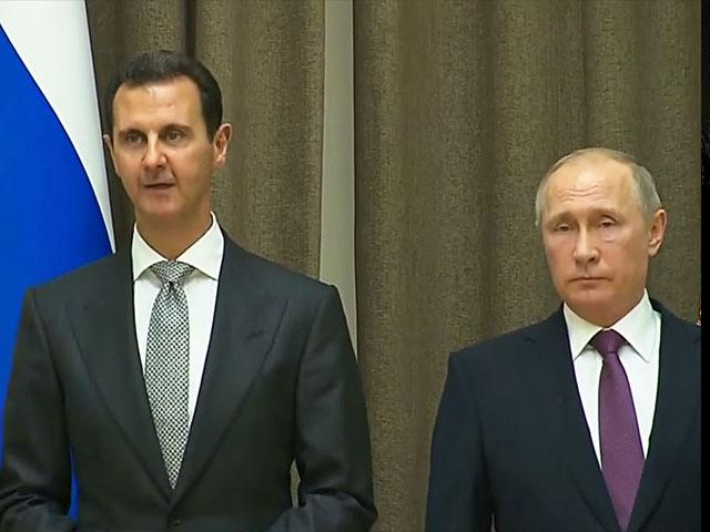Russian President Vladimir Putin with Syrian President Bashar Assad, Screen Capture
