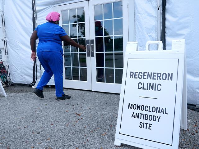 Numerous sites are open around Florida offering monoclonal antibody treatment sold by Regeneron to people who have tested positive for COVID-19. (AP Photo/Marta Lavandier)