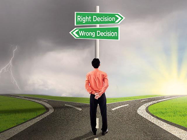 person choosing between right direction and wrong direction