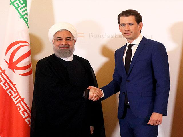 Iranian President Hassan Rouhani and Austrian Chancellor Sebastian Kurz at a Joint Press Conference in Vienna, Photo, Associated Press