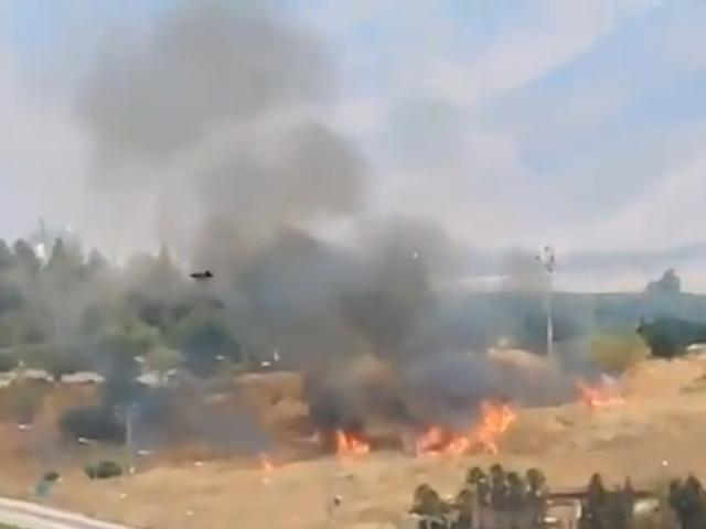 Aftermath of a rocket that hit Israel after being fired from Lebanon. Screenshot of footage from the IDF. Aug. 4, 2021.