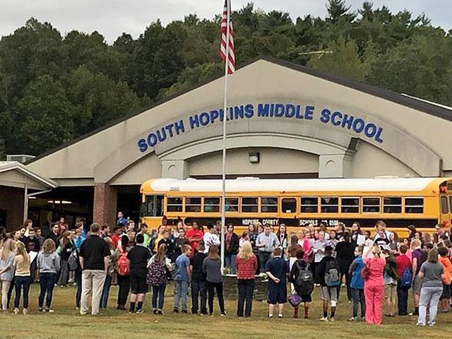 Prayer at South Hopkins Middle School in Hopkins County, KY (Photo Courtesy: Jessica Long)