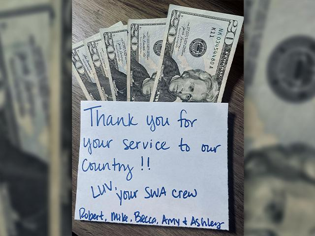 A Southwest Airlines crew found a sailor's wallet and sent him a surprise when they returned it (Photo: Courtesy of John Wesley Reid)