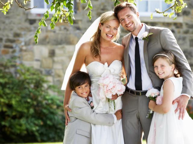 Step family wedding portrait