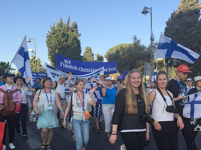 Feast of Tabernacles march in Jerusalem, CBN News image, Tzippe Barrow