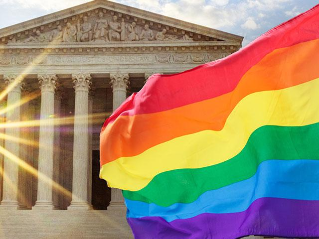 Supreme Court and LGBTQ flag