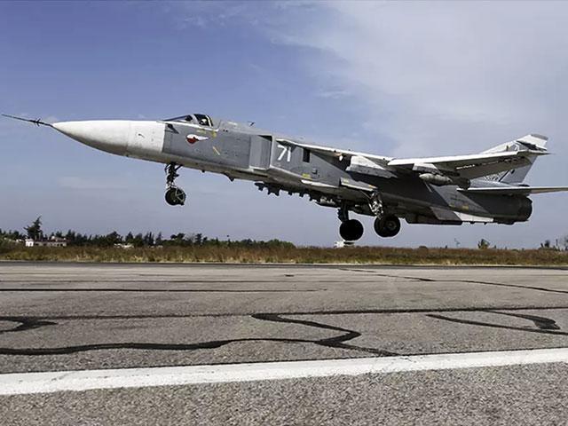 Sukhoi Su-24 fighter jet landing at the Hmeymim air base near Latakia, Syria, Photo, Russian Defense Ministry