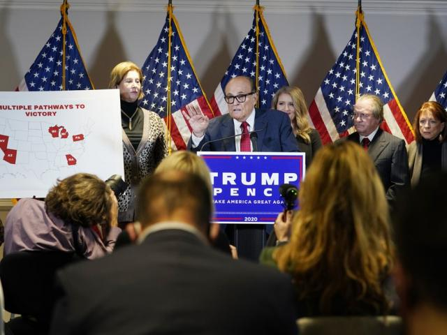 President Donald Trump's lawyer, Rudy Giuliani, speaks during a news conference on Thursday Nov. 19, 2020, in Washington. (AP Photo/Jacquelyn Martin)