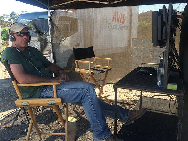Producer Terry Benedict on the set of Hacksaw Ridge