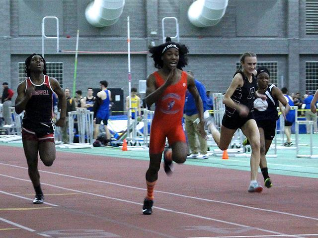 Transgender athlete Terry Miller wins the 55-meter dash over trans athlete Andraya Yearwood, far left, both defeating the girls in the Connecticut girls Class S indoor track meet at Hillhouse High School in New Haven, Conn., Feb. 7, 2019 (AP photo)