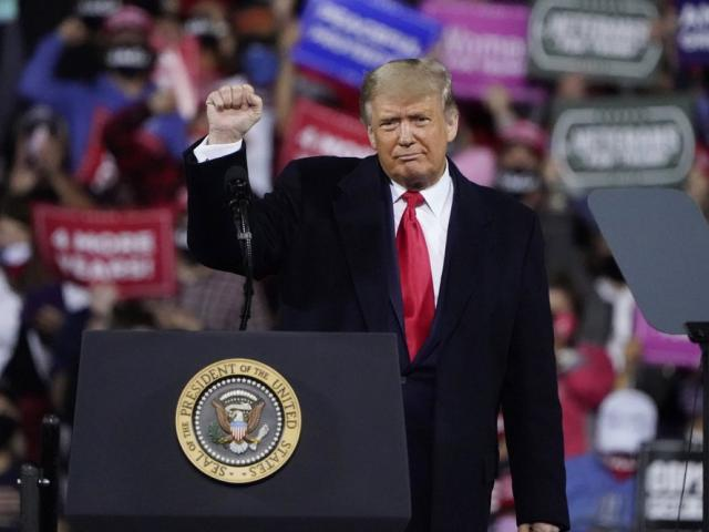 Trump wraps up his speech at a campaign rally at Fayetteville Regional Airport, Saturday, Sept. 19, 2020, in Fayetteville, N.C. (AP Photo/Chris Carlson)