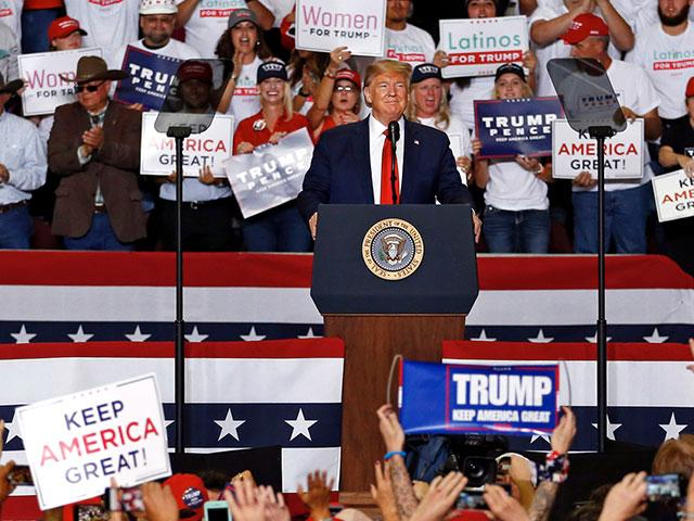 President Donald Trump speaks at a campaign rally at the Santa Ana Star Center, Monday, Sept. 16, 2019, in Rio Rancho, N.M. (AP Photo/Andres Leighton)