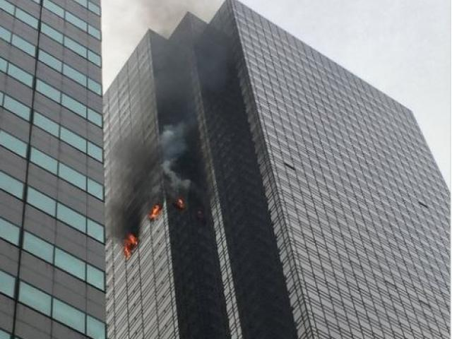 Fire on the 50th floor of NYC's Trump Tower.  Image courtesy: FDNY/Twitter