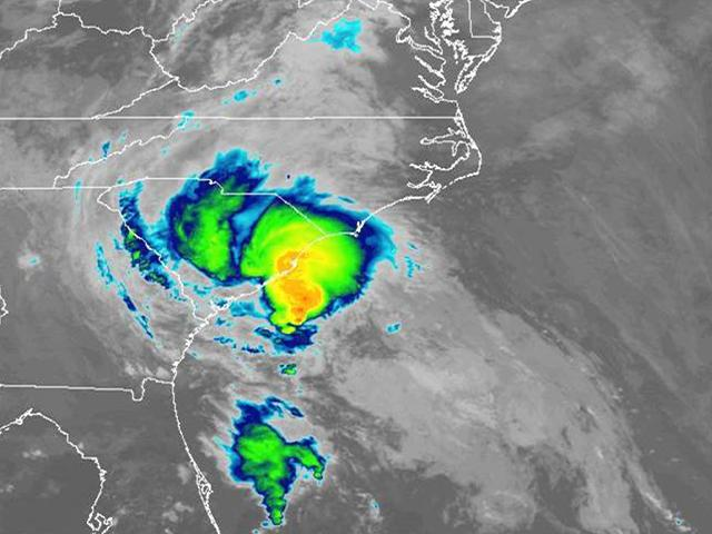 Tropical Storm Bertha hits South Carolina (NOAA Satellite Image)