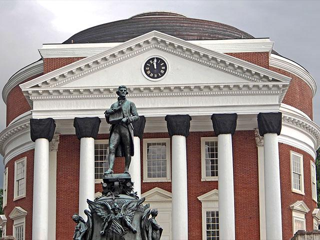 University of Virginia Rotunda and Statue of Thomas Jefferson