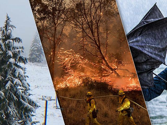 wildfires, blizzards, flooding