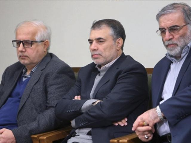 AP Still: Mohsen Fakhrizadeh, right, sitting in a meeting with Supreme Leader Ayatollah Ali Khamenei. 23 Jan. 2019