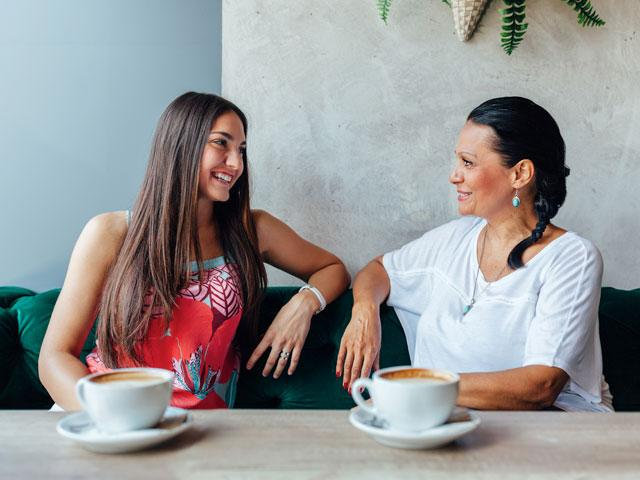 Mom and daughter at the coffee shop
