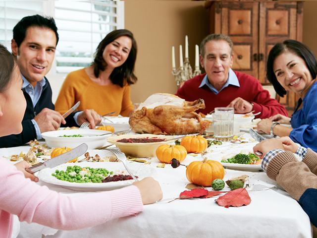 Family celebrating Thanksgiving