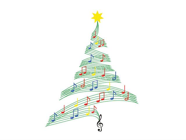 Christmas tree of music notes