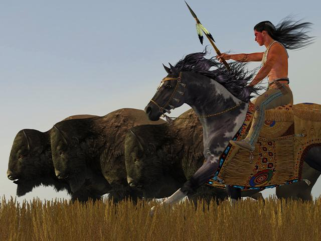 native american riding a painted horse and running with buffalo