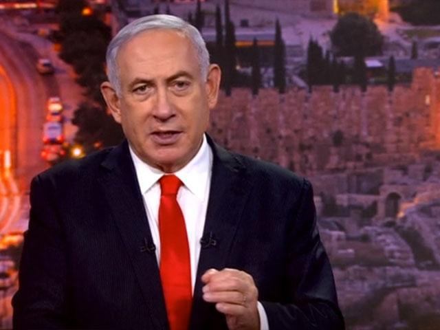 In this image from UNTV video, Prime Minister Benjamin Netanyahu speaks in a pre-recorded message which was played during the 75th session of the United Nations General Assembly, Tuesday, Sept. 29, 2020, at U.N. headquarters. (UNTV via AP)