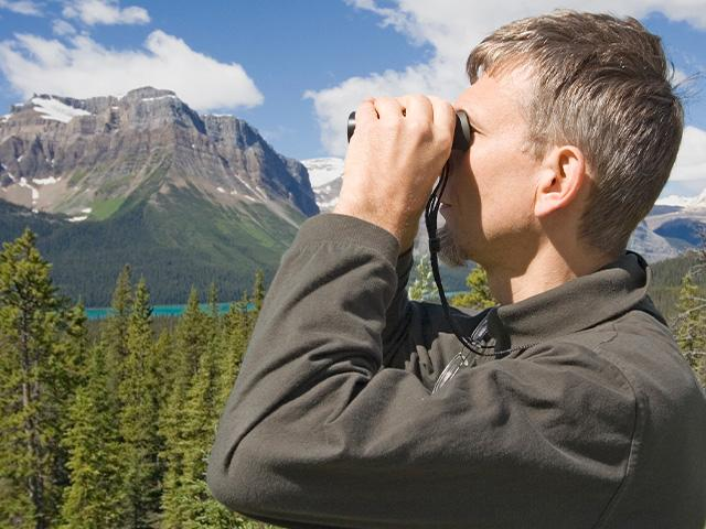 park ranger looking through binoculars