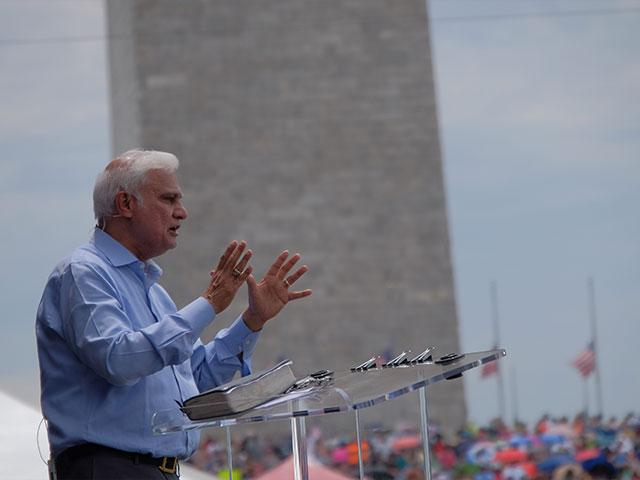 Washington, 2016: Ravi Zacharias addresses a crowd gathered on the National Mall for Together 2016. (Photo courtesy: Ravi Zacharias International Ministries)