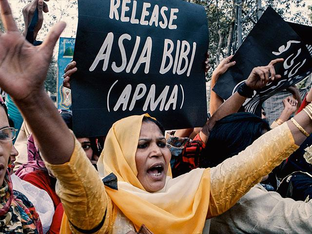 Protestors fight for the release of Asia Bibi, a Pakistani Christian woman falsely accused of violating Islamic blasphemy law.