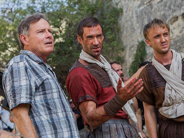 Director Kevin Reynolds, Joseph Fiennes and Tom Felton in Risen