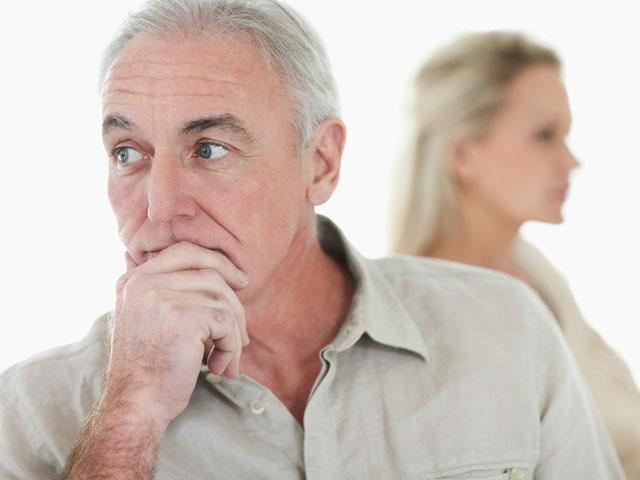 Senior couple ignoring each other