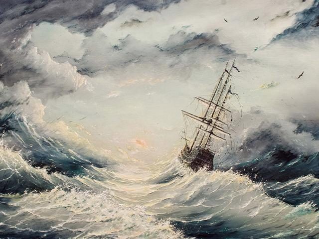 painting of a ship on stormy seas