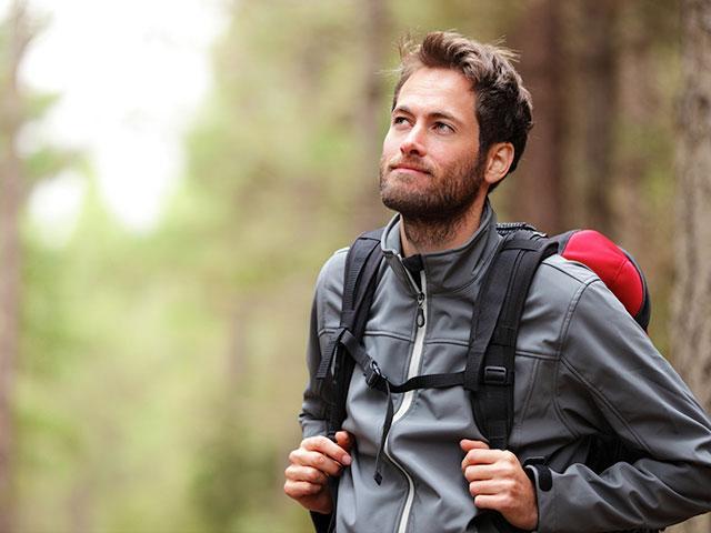 Single man hiking