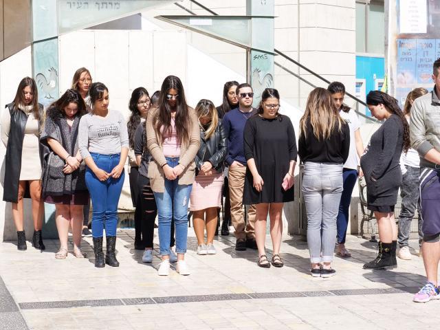 Jerusalemites Stand during Holocaust Siren