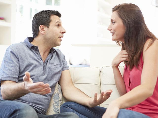 Spouses having a serious talk