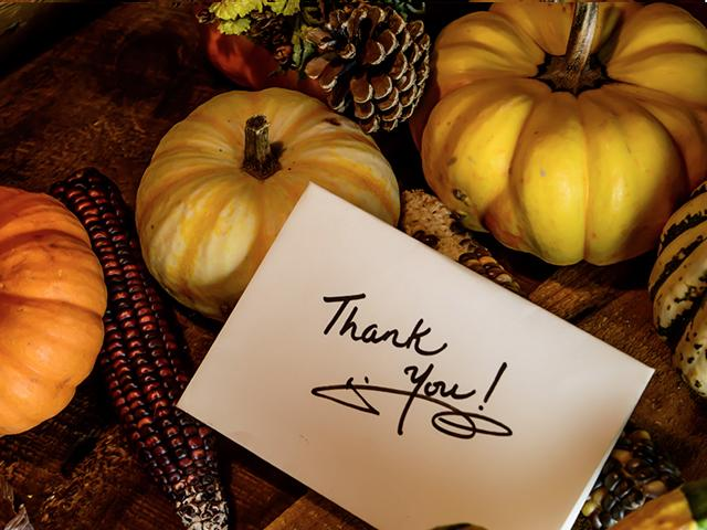 thank you card with corn and pumpkins