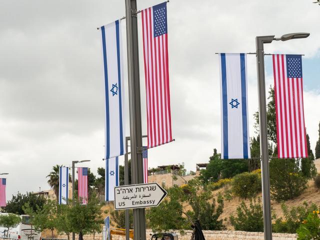 us embassy jerusalem flags sign