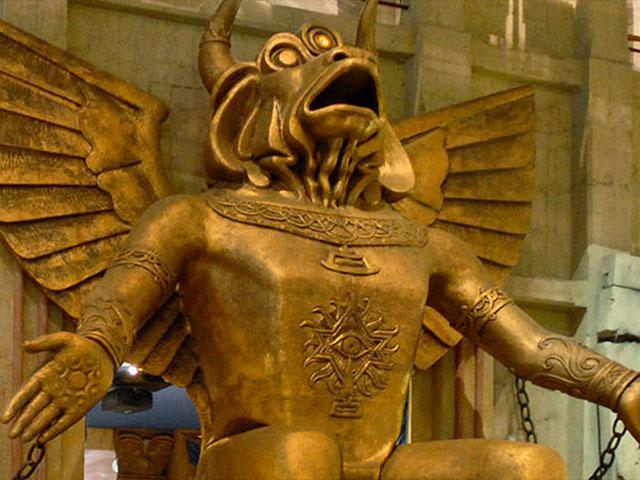 Statue of Molech, Pagan Deity of Child Sacrifice, Displayed at Colosseum