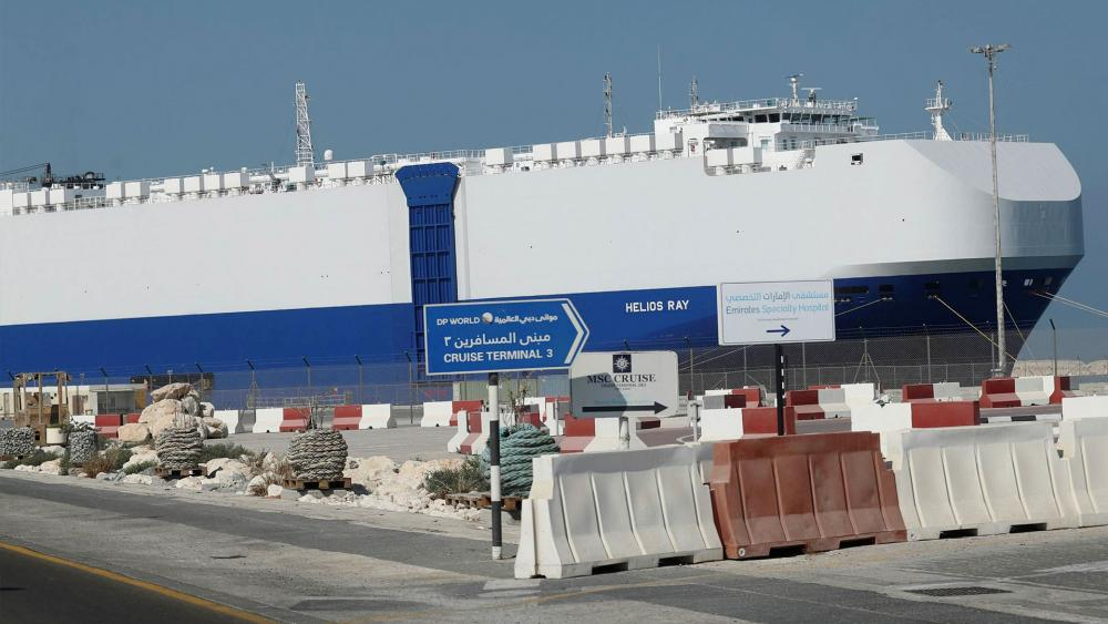 The Israeli-owned cargo ship, Helios Ray, sits docked in port after arriving for repairs in Dubai. AP Photo/Kamran Jebreili)