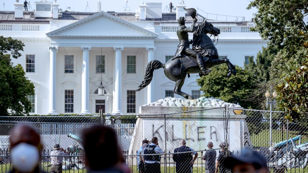 Protesters tried to topple a statue of President Andrew Jackson across from the White House, June 22, 2020, in Washington (AP Photo/Andrew Harnik)