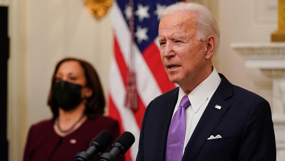 President Joe Biden speaks accompanied by Vice President Kamala Harris (AP Photo/Alex Brandon)