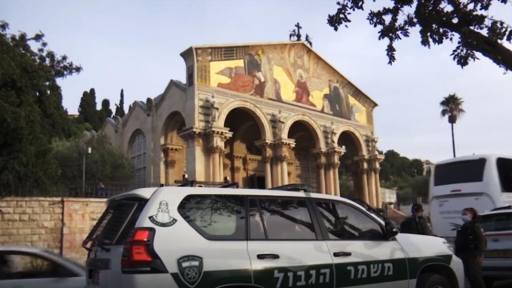 Exterior of the Church of All Nations in Jerusalem. AP Video Screenshot