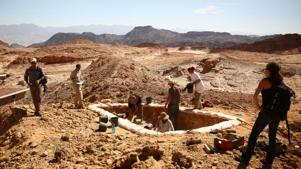 "(Courtesy of E. Ben-Yosef and the Central Timna Valley Project): ""Excavations of ancient copper mines as part of Tel Aviv University's Central Timna Valley Project."