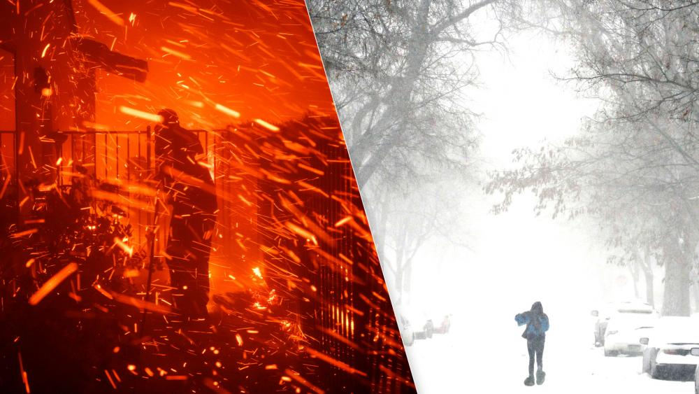 California wildfire and Midwest snowstorm