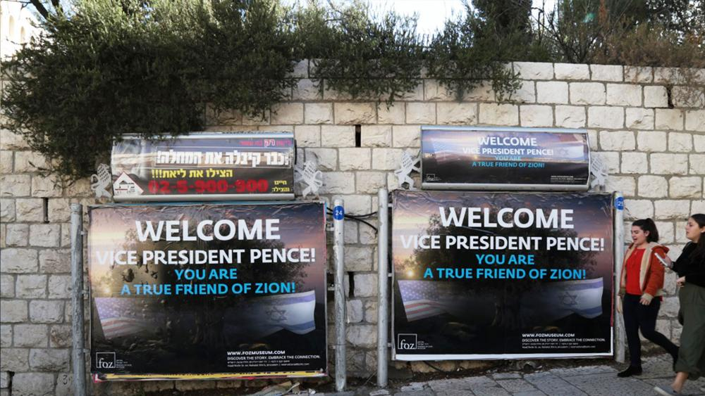 FOZ Posters Welcome Vice President Mike Pence to Jerusalem, Photo, CBN News