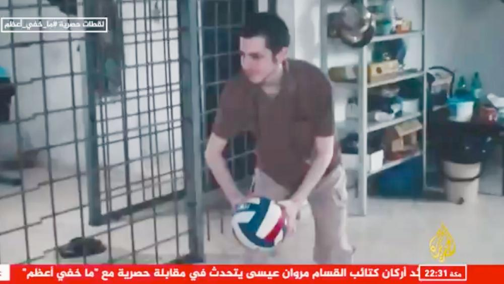 Gilad Shalit, a former captive of Hamas shown in Hamas footage released to Al Jazeera. Screenshot.