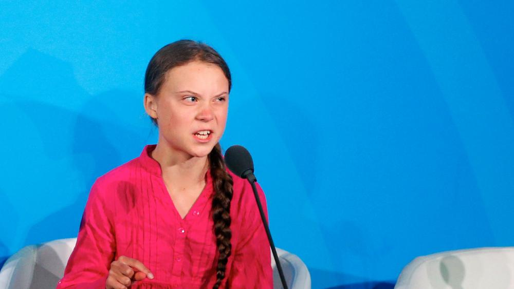 Environmental activist Greta Thunberg, of Sweden, addresses the Climate Action Summit in the United Nations General Assembly, Sept. 23, 2019. (AP Photo/Jason DeCrow)