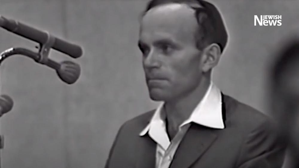 Holocaust survivor Joseph Zalman Kleinman testifies in the trial of Nazi leader Adolf Eichmann. YouTube screenshot.